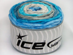 Lot of 2 x 150gr Skeins Ice Yarns CAKES CHENILLE BABY Yarn Turquoise Shades Grey Shades