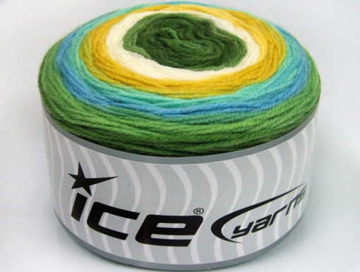 Lot of 2 x 150gr Skeins Ice Yarns CAKES DK Yarn Green Shades Turquoise Cream