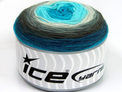 Lot of 2 x 150gr Skeins Ice Yarns CAKES DK Yarn Grey Shades Turquoise Shades White