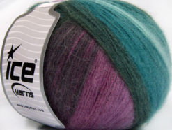 Lot of 4 x 100gr Skeins Ice Yarns ANGORA DESIGN (20% Angora 20% Wool) Yarn Teal Anthracite Purple Shades