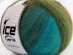 Lot of 4 x 100gr Skeins Ice Yarns ANGORA DESIGN (20% Angora 20% Wool) Yarn Turquoise Green Shades Brown Shades