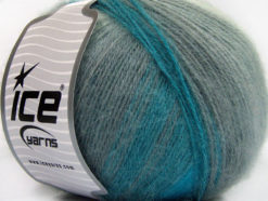 Lot of 4 x 100gr Skeins Ice Yarns ANGORA DESIGN (20% Angora 20% Wool) Yarn Turquoise Shades Grey Shades