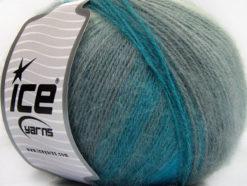 Lot of 4 x 100gr Skeins Ice Yarns ANGORA DESIGN (20% Angora 20% Wool) Yarn Turquoise Shades Grey Shades
