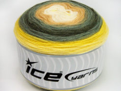 Lot of 2 x 150gr Skeins Ice Yarns CAKES WOOL DK (30% Wool) Yarn Yellow Shades Grey Shades Light Brown White