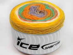 Lot of 2 x 150gr Skeins Ice Yarns CAKES WOOL DK (30% Wool) Yarn Yellow White Mint Green Orange Lilac