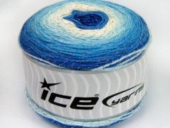 Lot of 2 x 150gr Skeins Ice Yarns CAKES GLITZ Yarn Blue Shades White