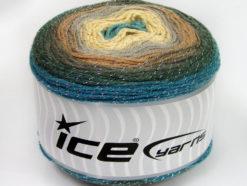 Lot of 2 x 150gr Skeins Ice Yarns CAKES GLITZ Yarn Turquoise Dark Khaki Camel Grey Light Yellow