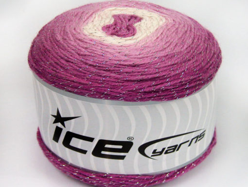 Lot of 2 x 150gr Skeins Ice Yarns CAKES GLITZ Yarn Orchid Shades White