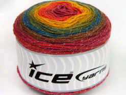 Lot of 2 x 150gr Skeins Ice Yarns CAKES GLITZ Yarn Brown Turquoise Green Shades Orange Fuchsia