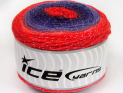 Lot of 2 x 150gr Skeins Ice Yarns CAKES GLITZ Yarn Red Shades Purple Shades