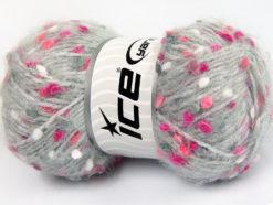 Lot of 3 x 100gr Skeins Ice Yarns BONIBON Hand Knitting Yarn Grey Pink Shades