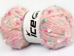 Lot of 3 x 100gr Skeins Ice Yarns BONIBON Yarn Light Pink Turquoise Fuchsia White