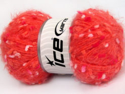 Lot of 3 x 100gr Skeins Ice Yarns BONIBON Yarn Dark Salmon Salmon White