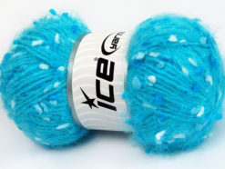 Lot of 3 x 100gr Skeins Ice Yarns BONIBON Hand Knitting Yarn Turquoise White