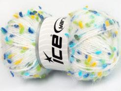 Lot of 3 x 100gr Skeins Ice Yarns BONIBON Yarn White Blue Yellow Turquoise Green