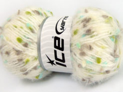 Lot of 3 x 100gr Skeins Ice Yarns BONIBON Yarn Cream Camel Turquoise Green