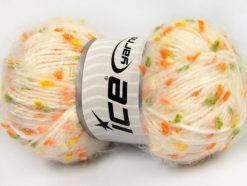Lot of 3 x 100gr Skeins Ice Yarns BONIBON Yarn Cream Orange Yellow Green