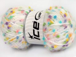 Lot of 3 x 100gr Skeins Ice Yarns BONIBON Yarn White Turquoise Yellow Purple Pink Blue