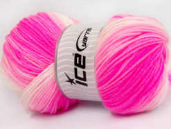 Lot of 4 x 100gr Skeins Ice Yarns BABY BATIK Yarn Neon Pink Light Pink White