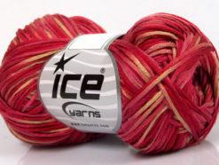 Lot of 8 Skeins Ice Yarns FETTUCCIA FINE Yarn Red Shades Pink Camel