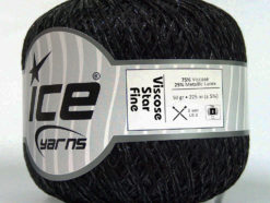 Lot of 6 Skeins Ice Yarns VISCOSE STAR FINE (75% Viscose) Yarn Black