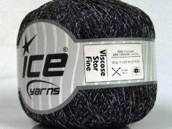 Lot of 6 Skeins Ice Yarns VISCOSE STAR FINE (75% Viscose) Yarn Black Silver