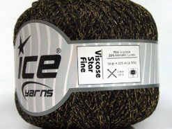 Lot of 6 Skeins Ice Yarns VISCOSE STAR FINE (75% Viscose) Yarn Black Gold