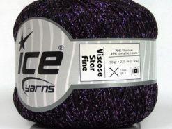 Lot of 6 Skeins Ice Yarns VISCOSE STAR FINE (75% Viscose) Yarn Black Lilac