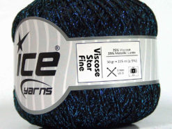 Lot of 6 Skeins Ice Yarns VISCOSE STAR FINE (75% Viscose) Yarn Black Turquoise
