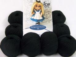 Lot of 8 Skeins Ice Yarns AMIGURUMI COTTON 25 (50% Cotton) Yarn Black