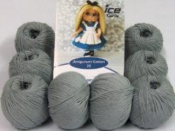 Lot of 8 Skeins Ice Yarns AMIGURUMI COTTON 25 (50% Cotton) Yarn Light Grey