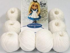Lot of 8 Skeins Ice Yarns AMIGURUMI COTTON 25 (50% Cotton) Yarn White