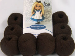 Lot of 8 Skeins Ice Yarns AMIGURUMI COTTON 25 (50% Cotton) Yarn Dark Brown