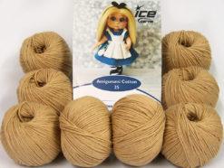 Lot of 8 Skeins Ice Yarns AMIGURUMI COTTON 25 (50% Cotton) Yarn Light Brown