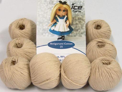 Lot of 8 Skeins Ice Yarns AMIGURUMI COTTON 25 (50% Cotton) Yarn Beige