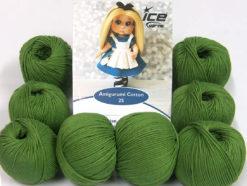 Lot of 8 Skeins Ice Yarns AMIGURUMI COTTON 25 (50% Cotton) Yarn Forest Green