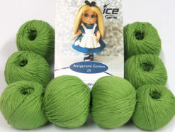 Lot of 8 Skeins Ice Yarns AMIGURUMI COTTON 25 (50% Cotton) Yarn Green