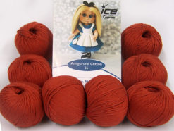 Lot of 8 Skeins Ice Yarns AMIGURUMI COTTON 25 (50% Cotton) Yarn Marsala Red