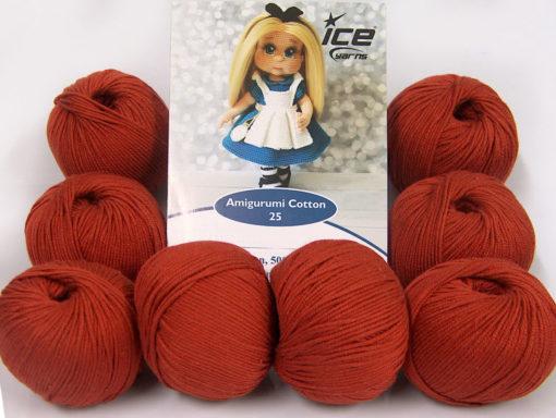 Lot of 8 Skeins Ice Yarns AMIGURUMI COTTON 25 (50% Cotton) Yarn Marsala Red