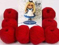 Lot of 8 Skeins Ice Yarns AMIGURUMI COTTON 25 (50% Cotton) Yarn Dark Red