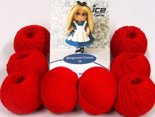 Lot of 8 Skeins Ice Yarns AMIGURUMI COTTON 25 (50% Cotton) Yarn Red