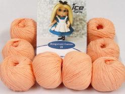 Lot of 8 Skeins Ice Yarns AMIGURUMI COTTON 25 (50% Cotton) Yarn Light Salmon