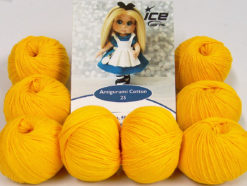 Lot of 8 Skeins Ice Yarns AMIGURUMI COTTON 25 (50% Cotton) Yarn Yellow