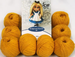 Lot of 8 Skeins Ice Yarns AMIGURUMI COTTON 25 (50% Cotton) Yarn Gold