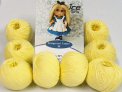 Lot of 8 Skeins Ice Yarns AMIGURUMI COTTON 25 (50% Cotton) Yarn Light Yellow