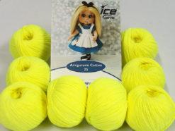 Lot of 8 Skeins Ice Yarns AMIGURUMI COTTON 25 (50% Cotton) Yarn Neon Yellow