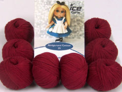 Lot of 8 Skeins Ice Yarns AMIGURUMI COTTON 25 (50% Cotton) Yarn Burgundy