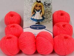 Lot of 8 Skeins Ice Yarns AMIGURUMI COTTON 25 (50% Cotton) Yarn Neon Salmon