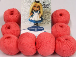 Lot of 8 Skeins Ice Yarns AMIGURUMI COTTON 25 (50% Cotton) Yarn Salmon