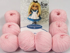 Lot of 8 Skeins Ice Yarns AMIGURUMI COTTON 25 (50% Cotton) Yarn Baby Pink